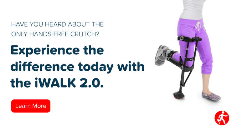 "Text that says ""Experience the difference today with iWalk2.0. Image of person using the iWalk2.0"