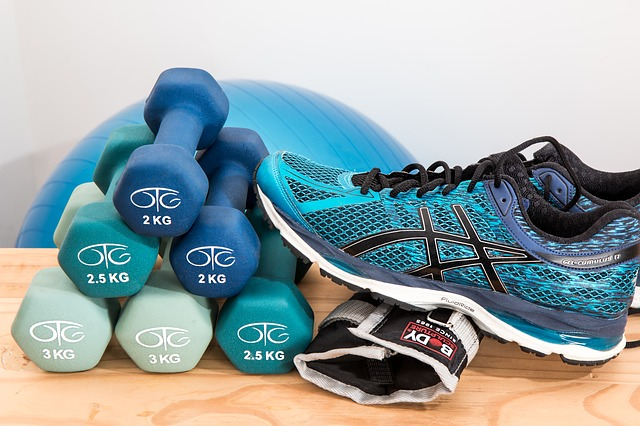 Dumbbells and workout equipment
